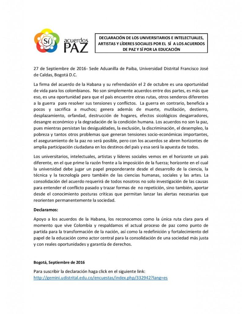 Declaración de los Universitarios e Intelectuales, Artistas y Líderes Sociales por el Sí de los acuerdos de Paz-page-001